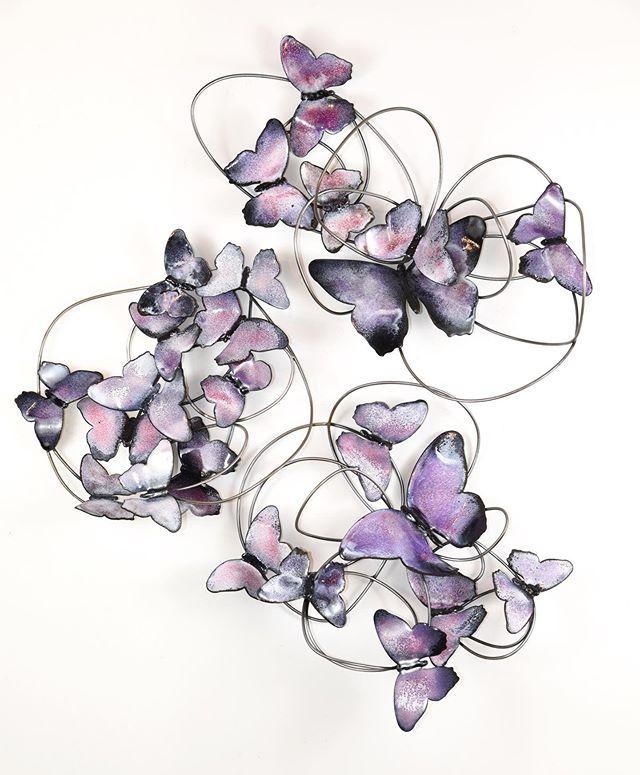 Blushing Butterfly Triptych - Wall Sculpture - artist Christie Hackler