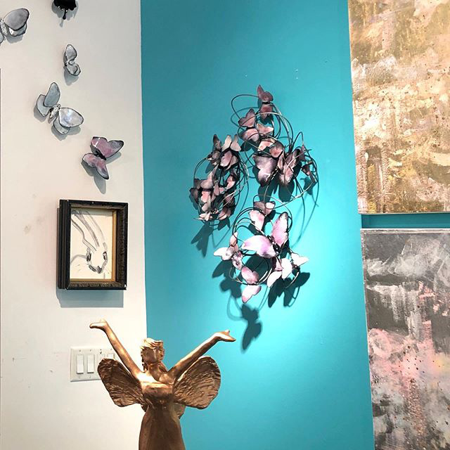 Blushing Butterfly Triptych - Wall Sculpture - on wall - artist Christie Hackler