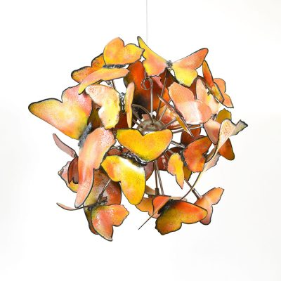 Frofalle butterflies is 24 yellow and orange enameled steel butterflies - Christie Hackler
