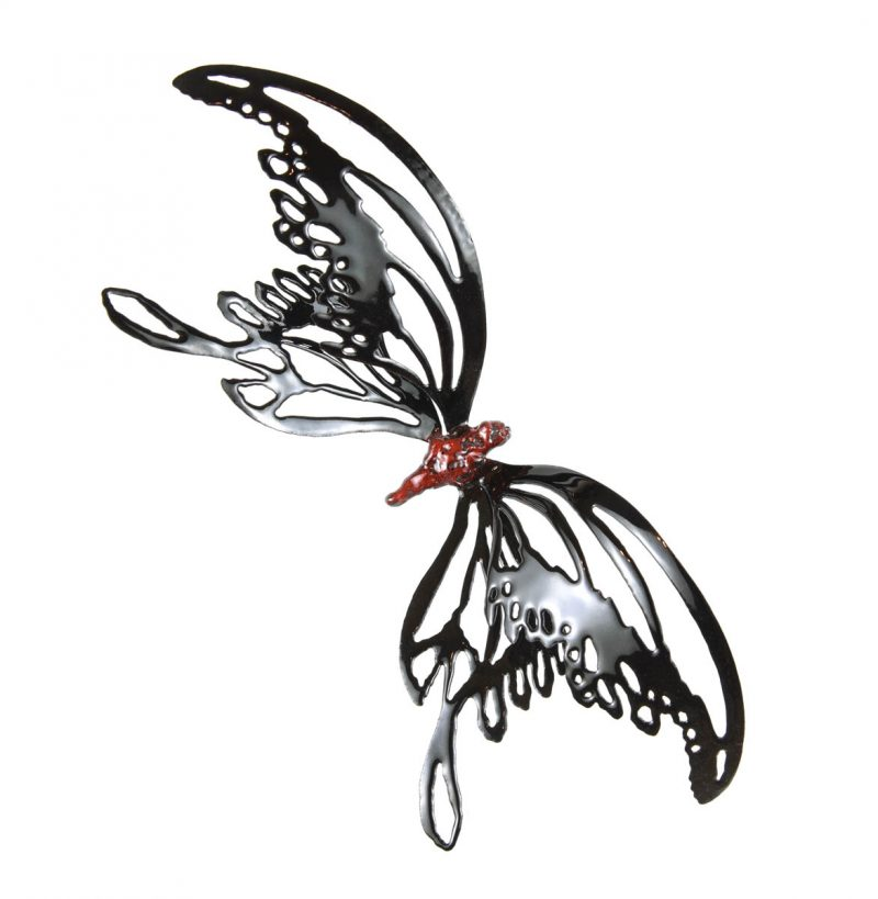 MINA BUTTERFLIES Color Black with Red Body, Chrisite Hackler